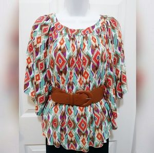 Body Central winged sleeved blouse with belt